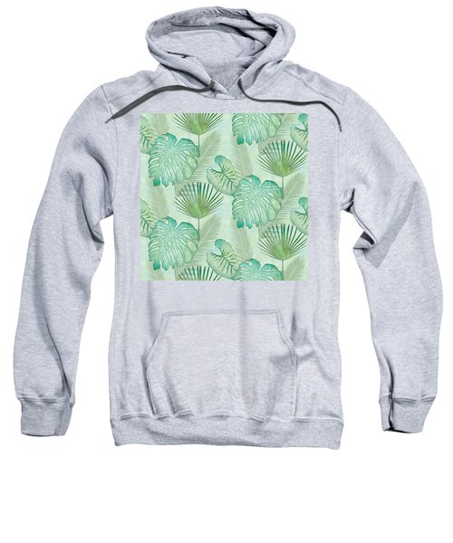Rainforest Tropical - Elephant Ear And Fan Palm Leaves Repeat Pattern Sweatshirt