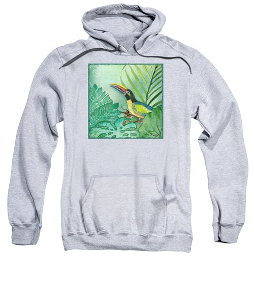 Rainforest Tropical - Jungle Toucan W Philodendron Elephant Ear And Palm Leaves 2 Sweatshirt