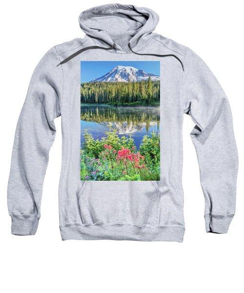 Rainier Wildflowers At Reflection Lake Sweatshirt