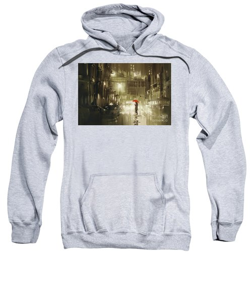 Sweatshirt featuring the painting Rainy Night by Tithi Luadthong