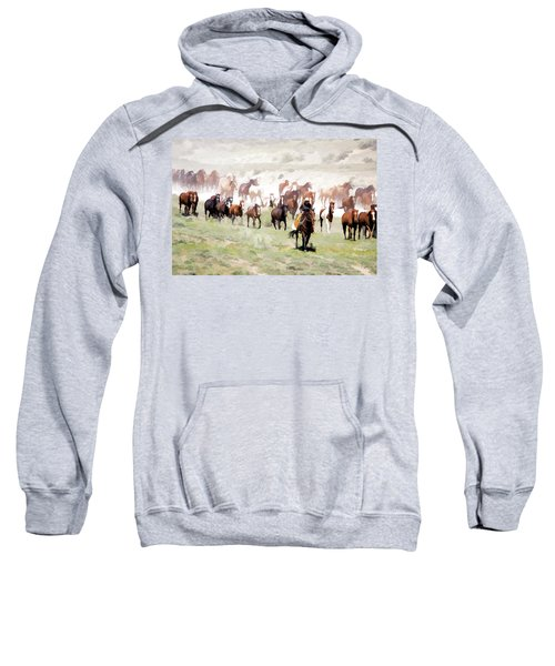 Raising Dust On The Great American Horse Drive In Maybell Colorado Sweatshirt