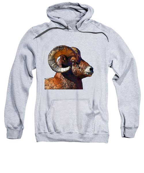 Ram Portrait - Rocky Mountain Bighorn Sheep  Sweatshirt by Lena  Owens OLena Art