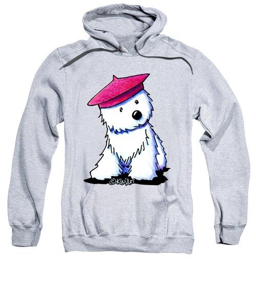 Raspberry Beret Westie Sweatshirt by Kim Niles