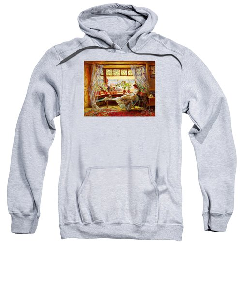 Sweatshirt featuring the painting Reading By The Window by Charles James Lewis