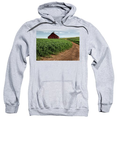 Red Barn In Green Field Sweatshirt
