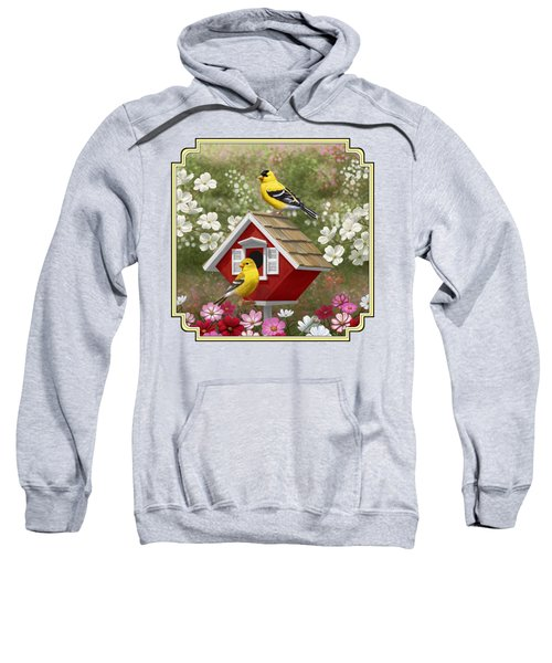 Red Birdhouse And Goldfinches Sweatshirt by Crista Forest