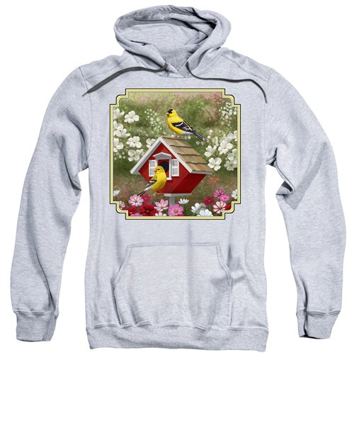 Red Birdhouse And Goldfinches Sweatshirt