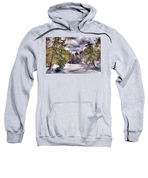 Sweatshirt featuring the photograph Red Boathouse After The Storm by David Patterson