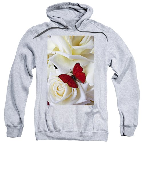 Red Butterfly On White Roses Sweatshirt