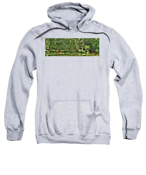 Sweatshirt featuring the photograph Red Canoe Panorama by David Patterson