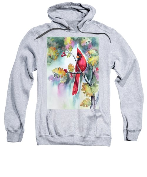 Red Cardinal With Berries Sweatshirt