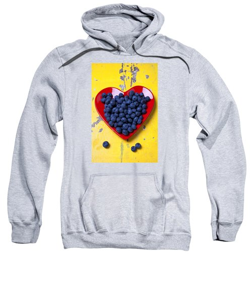 Red Heart Plate With Blueberries Sweatshirt by Garry Gay