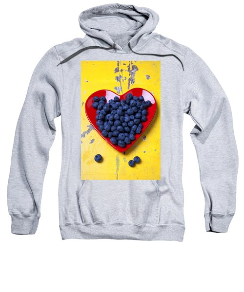 Red Heart Plate With Blueberries Sweatshirt