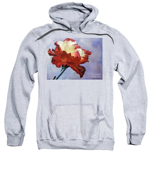 Watercolor Of A Red And White Rose On Blue Field Sweatshirt
