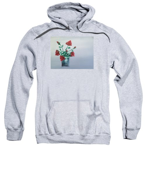 Red Roses In Silver Pot Sweatshirt by Roxy Rich