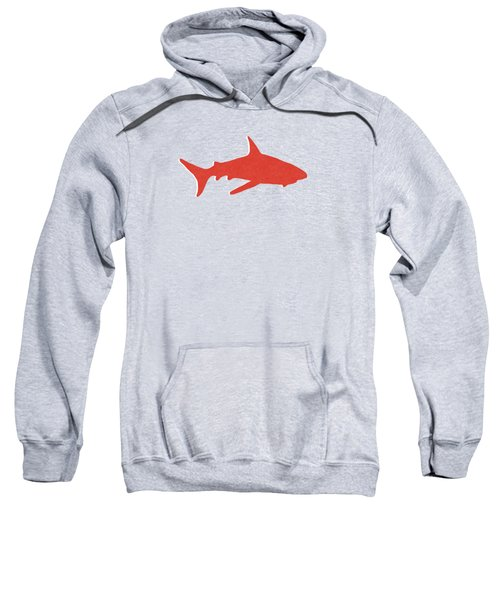 Red Shark Sweatshirt by Linda Woods