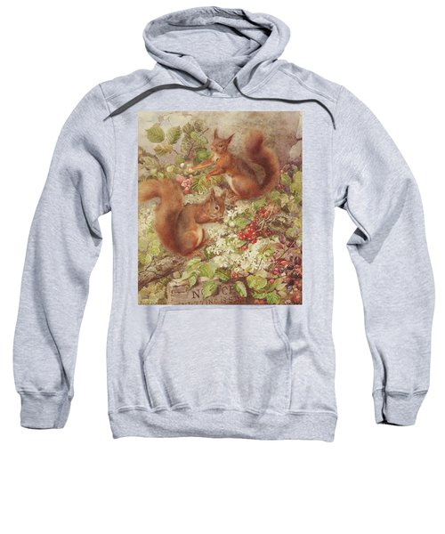 Red Squirrels Gathering Fruits And Nuts Sweatshirt