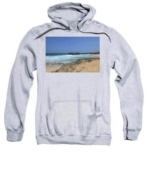 Remote Beach With A Rock Formation On The Island Of Aruba Sweatshirt