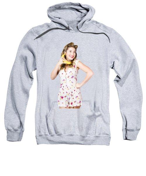 Retro Pin Up Girl Chatting On Banana Telephone Sweatshirt