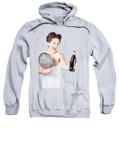 Retro Pin-up Girl Giving Bottle Of Soft Drink Sweatshirt by Jorgo Photography - Wall Art Gallery