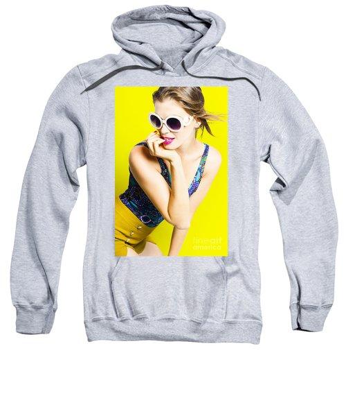 Retro Yellow Fashion Portrait  Sweatshirt