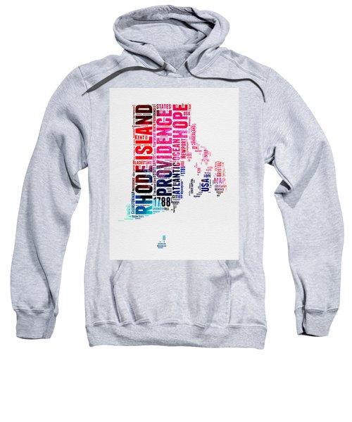 Rhode Island Watercolor Word Cloud Sweatshirt