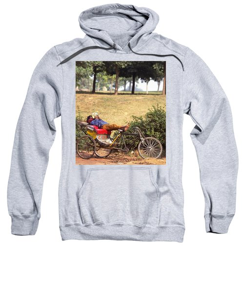 Rickshaw Rider Relaxing Sweatshirt by Travel Pics