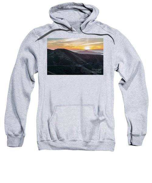 Road On The Edge Of The Mountain With Sunrise In The Background Sweatshirt