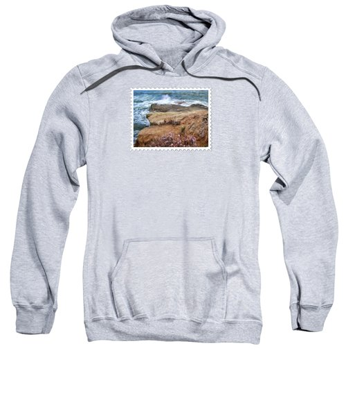 Rocks And Plants In The Central California Surf Oil Painting Sweatshirt