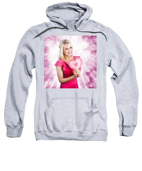 Romantic Woman With Heart Shape Valentine Card Sweatshirt
