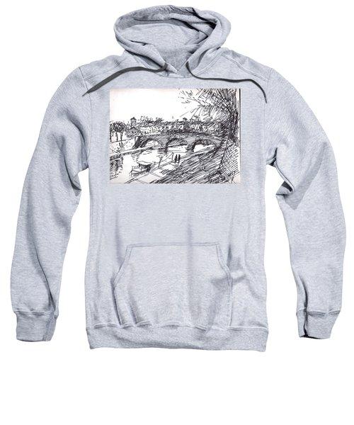 Bridge At Isola Tiberina Rome Sketch Sweatshirt