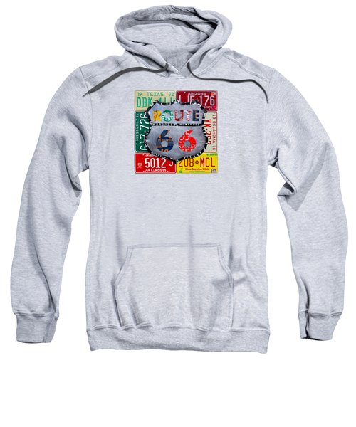 Route 66 Highway Road Sign License Plate Art Sweatshirt by Design Turnpike