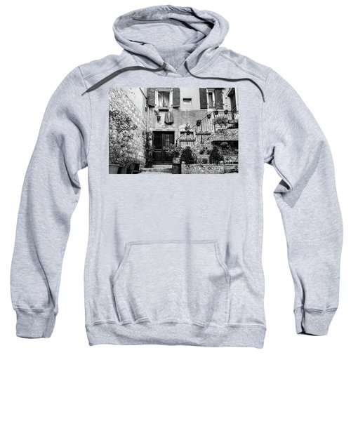 Rovinj Old Town Courtyard In Black And White, Rovinj Croatia Sweatshirt