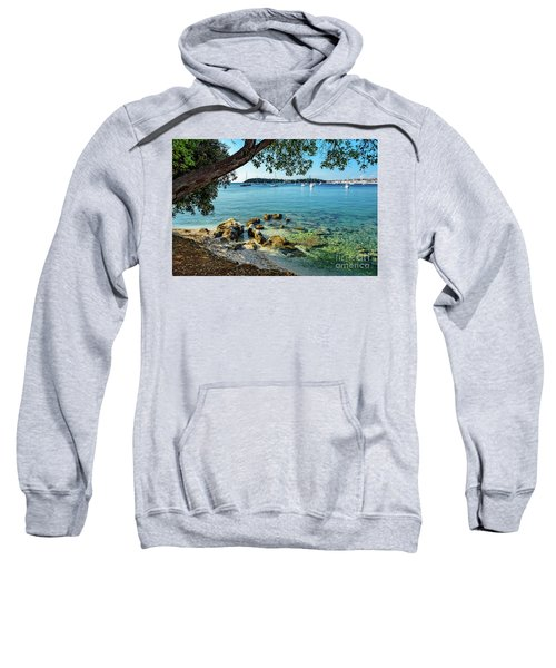 Rovinj Old Town, Harbor And Sailboats Accross The Adriatic Through The Trees Sweatshirt