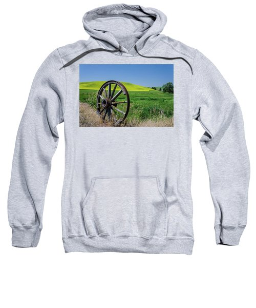 Rustic Wagon Wheel In The Palouse Sweatshirt