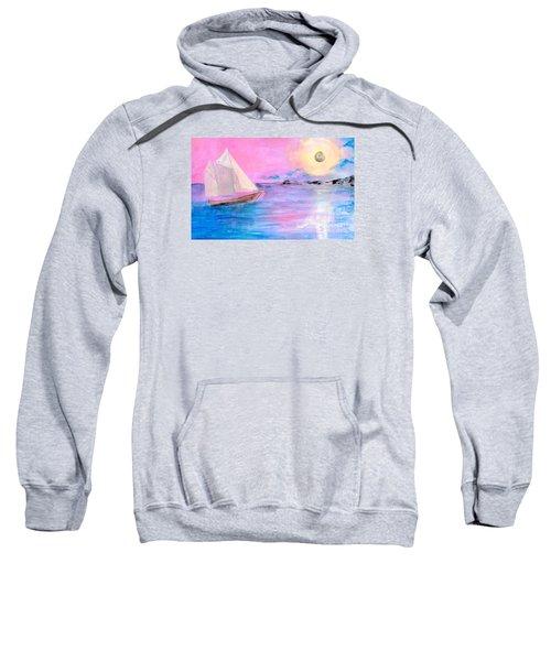 Sailboat In Pink Moonlight  Sweatshirt