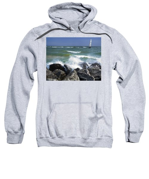 Sailboat Sailing Off The Shore At Ottawa Beach State Park Sweatshirt