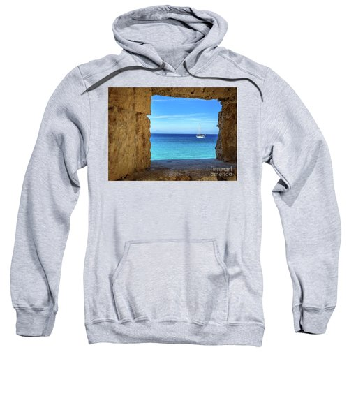 Sailboat Through The Old Stone Walls Of Rhodes, Greece Sweatshirt