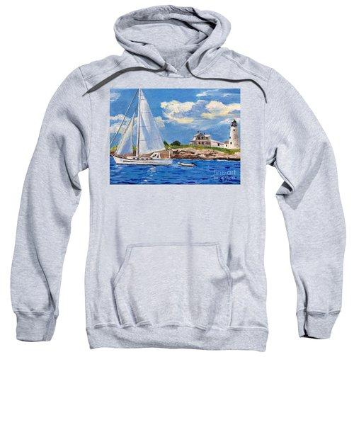 Sailing Past Wood Island Lighthouse Sweatshirt