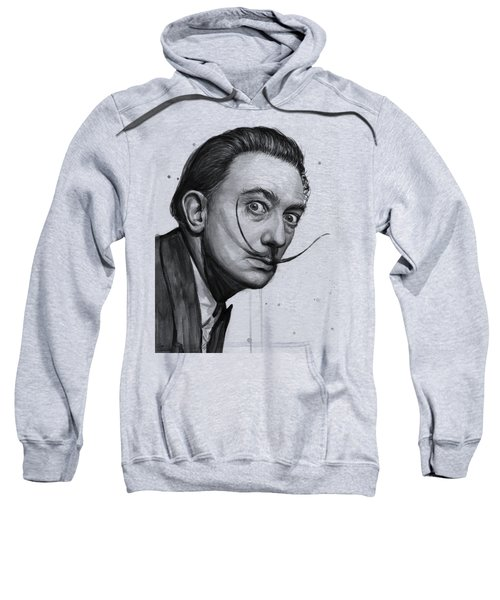 Salvador Dali Portrait Black And White Watercolor Sweatshirt