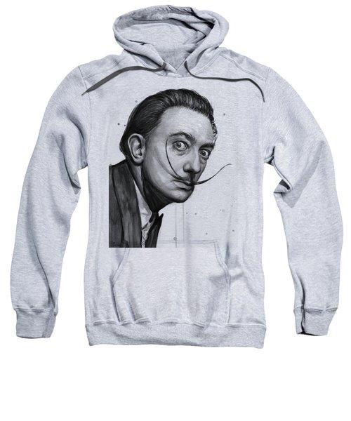 Salvador Dali Portrait Black And White Watercolor Sweatshirt