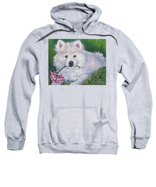 Samoyed Pup With Peony Sweatshirt