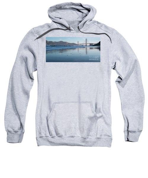 San Francisco Golden Gate Bridge Reflected On Baker's Beach Wet  Sweatshirt