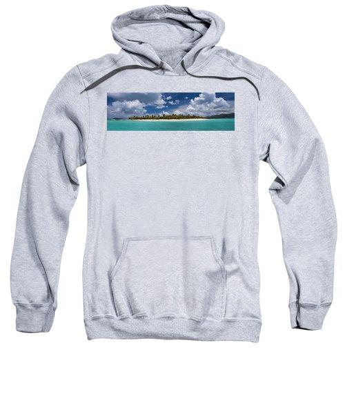 Sweatshirt featuring the photograph Sandy Cay Beach British Virgin Islands Panoramic by Adam Romanowicz