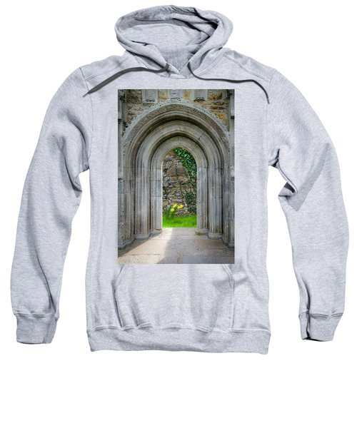 Sweatshirt featuring the photograph Sculpted Portal To Irish Spring Garden by James Truett