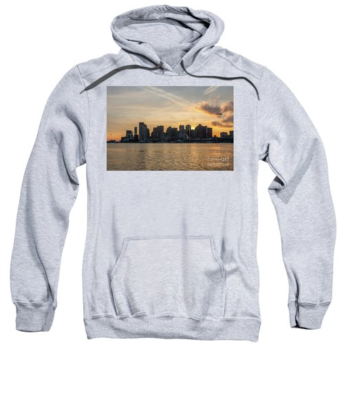 Seagull Flying At Sunset With The Skyline Of Boston On The Backg Sweatshirt