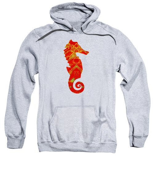 Seahorse Turquoise And Orange Right Facing Sweatshirt