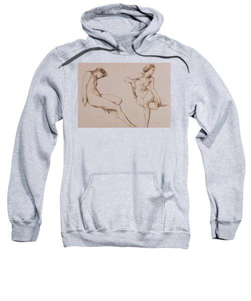 Sepia Drawing Of Nude Woman Sweatshirt