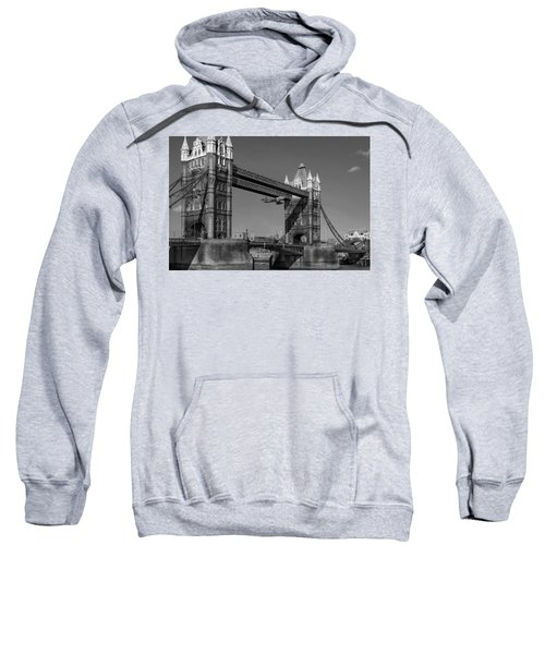 Sweatshirt featuring the photograph Seven Seconds - The Tower Bridge Hawker Hunter Incident Bw Versio by Gary Eason