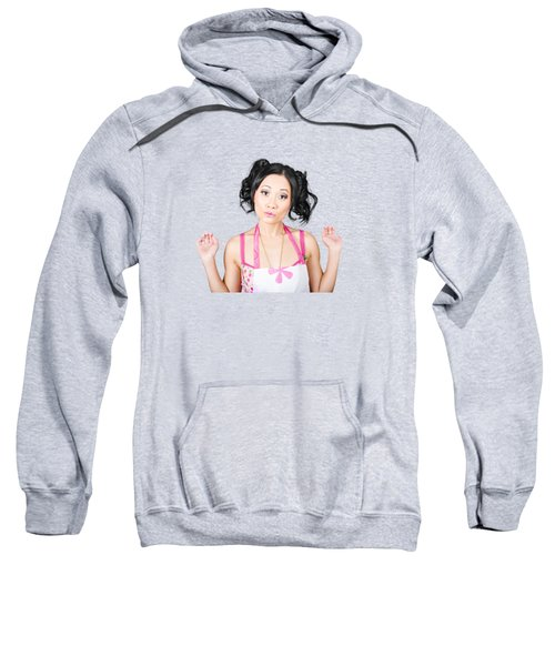 Cute Asian Pinup Woman With Surprised Expression Sweatshirt